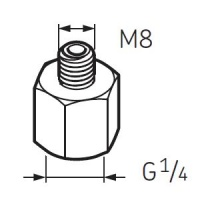 LAPN8 Nipple G1/4 - M8 for SKF System 24 Lubricators